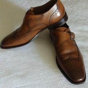 Men's Florsheim monk strap cognac leather shoes.